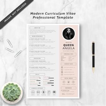 Plantilla profesional de curriculum vitae moderno