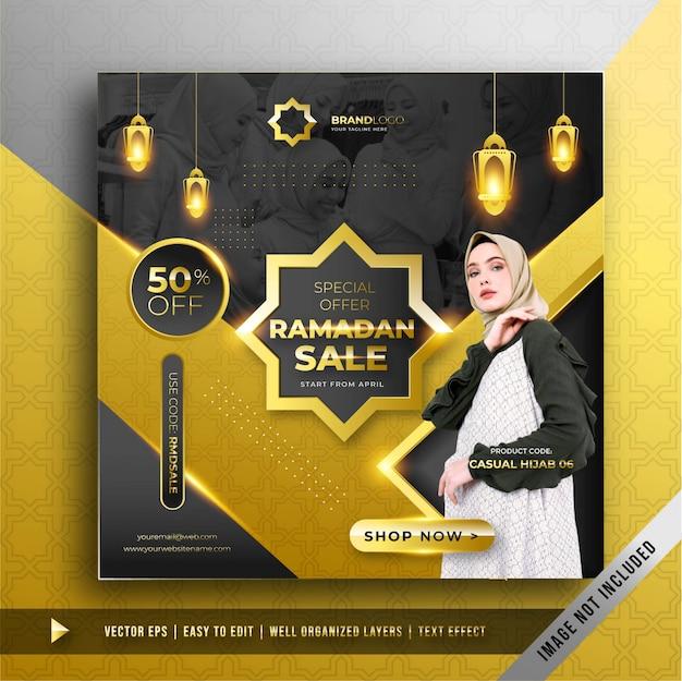 Plantilla de promoción de banner de lujo ramadán oro venta cuadrado