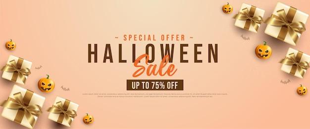 Plantilla de promoción de banner de venta de feliz halloween con calabazas y cajas de regalo. ilustración de vector de vista superior.