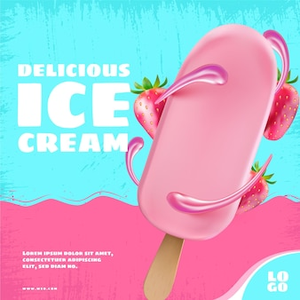 Plantilla de promoción de helado realista