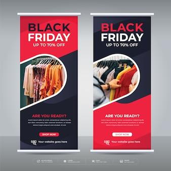 Plantilla de promoción de oferta de banner enrollable de venta de viernes negro