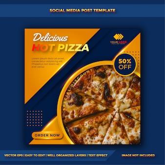 Plantilla de promoción de publicaciones de redes sociales de comida de pizza y culinaria
