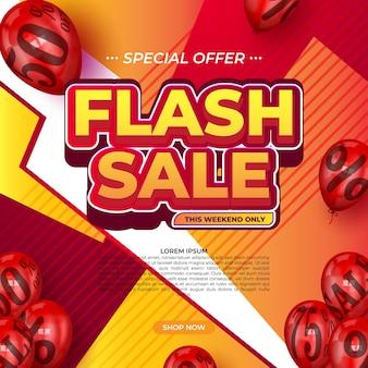 Plantilla promocional de banner moderno de venta flash