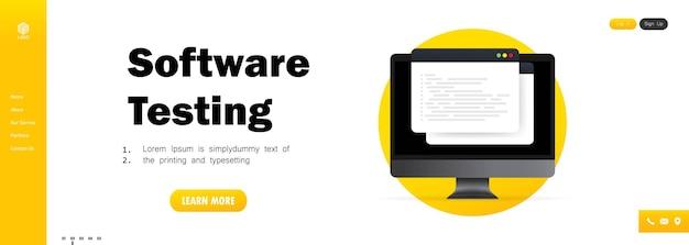 Plantilla de prueba de software. desarrollo, programación, codificación en computadora.
