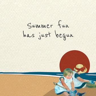 Plantilla psd de publicación en redes sociales con niños jugando en la playa, remezclada de obras de arte de mary cassatt