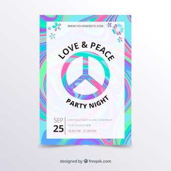 Plantilla psicodélica de póster de fiesta