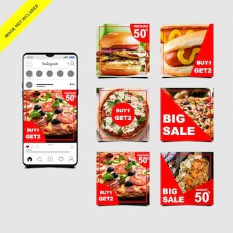 Plantilla de publicación de alimentos de instagram
