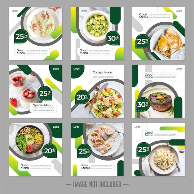 Plantilla de publicación de banner de comida de restaurante