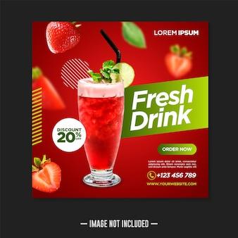 Plantilla de publicación de banner de redes sociales de bebida fresca
