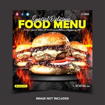 Plantilla de publicación de banner de redes sociales de hamburguesa deliciosa especial