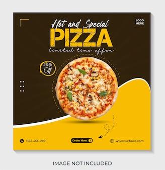 Plantilla de publicación de banner de redes sociales de pizza