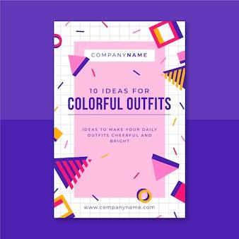 Plantilla de publicación de blog de moda colorida de memphis