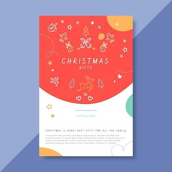 Plantilla de publicación de blog navideña festiva con ilustraciones