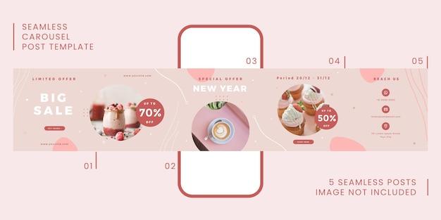 Plantilla de publicación de carrusel transparente con tema gastronómico para redes sociales.