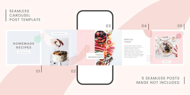 Plantilla de publicación de carrusel transparente con tema de pastel para redes sociales
