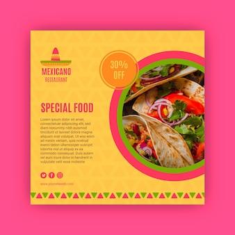 Plantilla de publicación cuadrada de restaurante mexicano