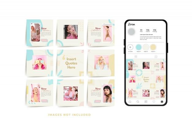 Plantilla de publicación de cuadrícula de marco de rompecabezas de redes sociales para promoción de venta de moda