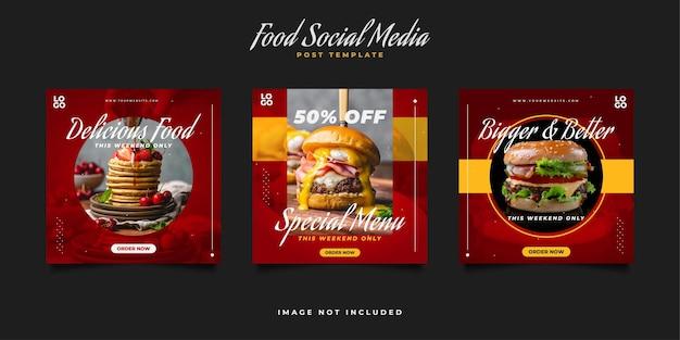 Plantilla de publicación culinaria en redes sociales para promoción de restaurantes. plantillas de publicaciones de redes sociales de menú de comida