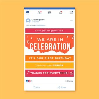 Plantilla de publicación de facebook de cumpleaños de cuadrícula