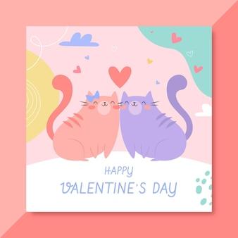 Plantilla de publicación de facebook del día de san valentín dibujada a mano