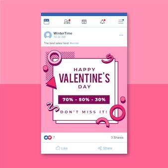 Plantilla de publicación de facebook del día de san valentín de memphis