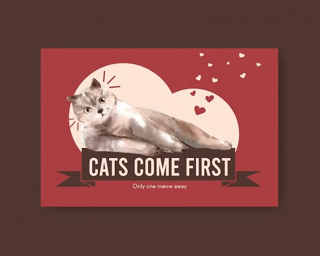 Plantilla de publicación de facebook con gatos lindos