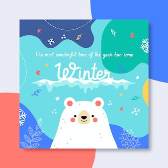 Plantilla de publicación de facebook de invierno ilustrada