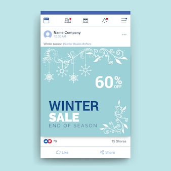 Plantilla de publicación de facebook de invierno ornamental