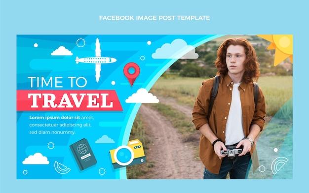 Plantilla de publicación de facebook de viajes planos