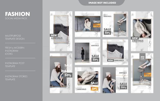 Plantilla de publicación de feed de historias de instagram de moda