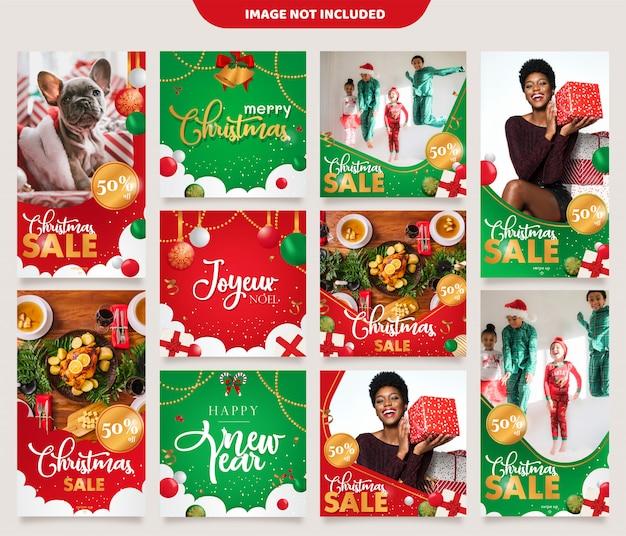 Plantilla de publicación de feed de historias de instagram de navidad