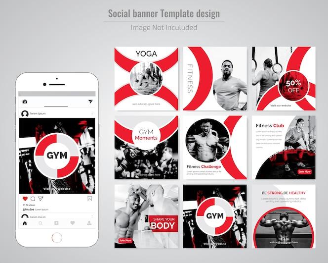 Plantilla de publicación de gym, gymnesium & yoga social media