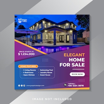 Plantilla de publicación de insta social de bienes raíces de hogar moderno elegante