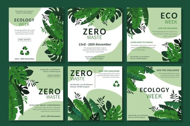Plantilla de publicación de instagram de anuncio de desperdicio cero