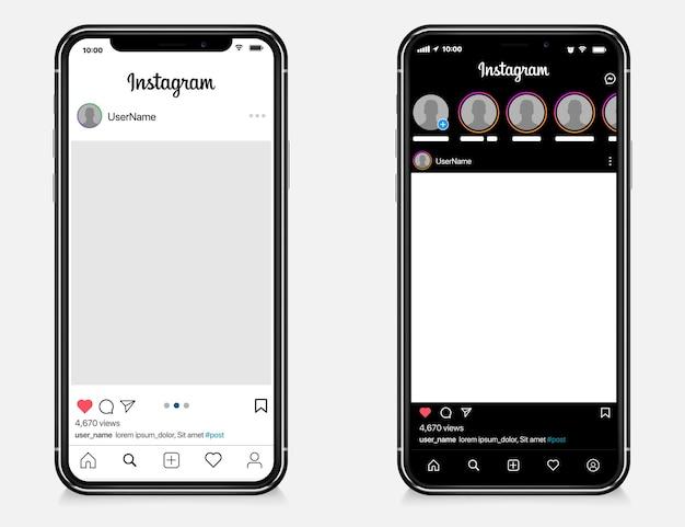 Plantilla de publicación de instagram en apple iphone
