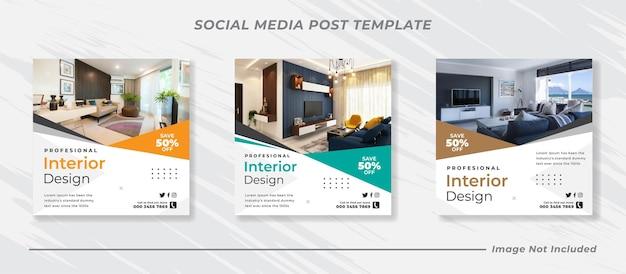 Plantilla de publicación de instagram de banner interior de casa