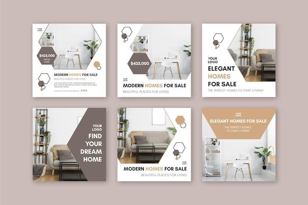 Plantilla de publicación de instagram de casas modernas