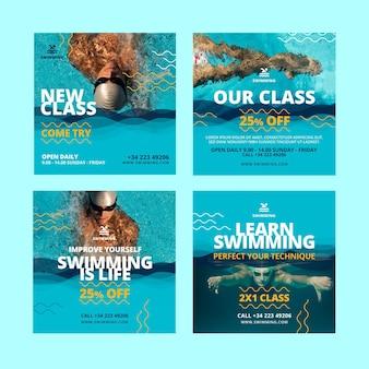 Plantilla de publicación de instagram de clases de natación