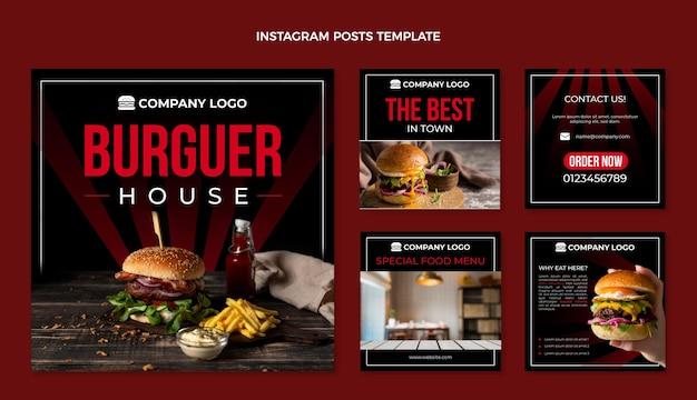 Plantilla de publicación de instagram de comida plana