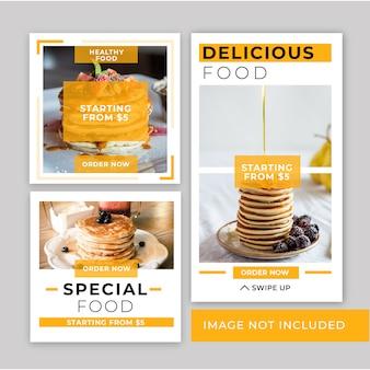 Plantilla de publicación de instagram de comida rápida de banner minimalista