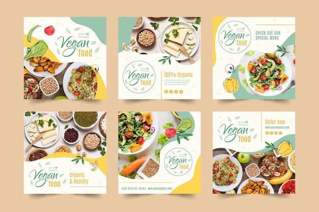 Plantilla de publicación de instagram de comida vegana