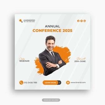Plantilla de publicación de instagram de conferencia de negocios o plantilla de volante cuadrado