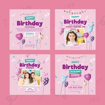 Plantilla de publicación de instagram de cumpleaños para niños