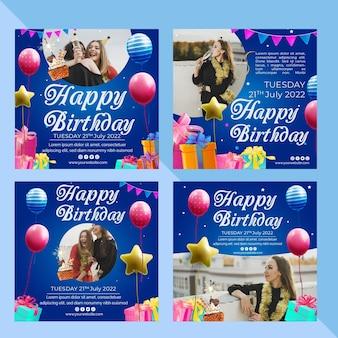 Plantilla de publicación de instagram de cumpleaños