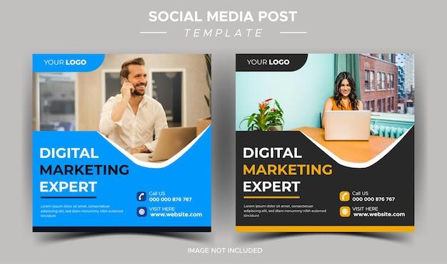 Plantilla de publicación de instagram de experto en marketing de negocios digitales