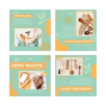 Plantilla de publicación de instagram de medio ambiente cero residuos