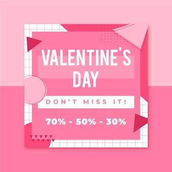 Plantilla de publicación de instagram de memphis valentines day
