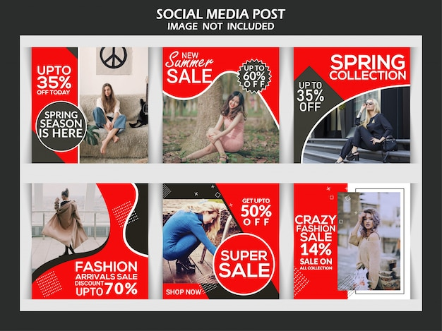 Plantilla de publicación de instagram o banner cuadrado, redes sociales premium de descuento creativo de moda