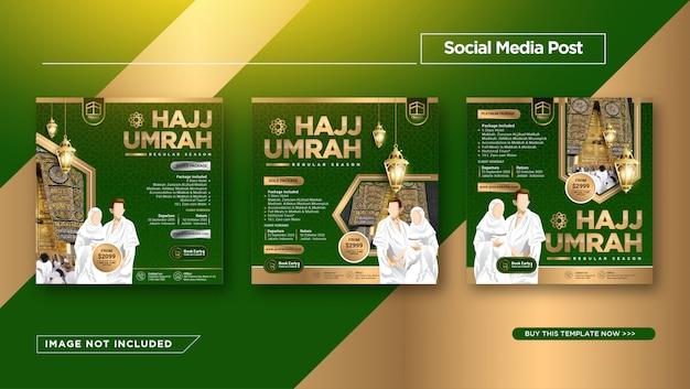 Plantilla de publicación de instagram para promoción de hajj y umrah