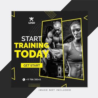 Plantilla de publicación de instagram de redes sociales black gym and fitness